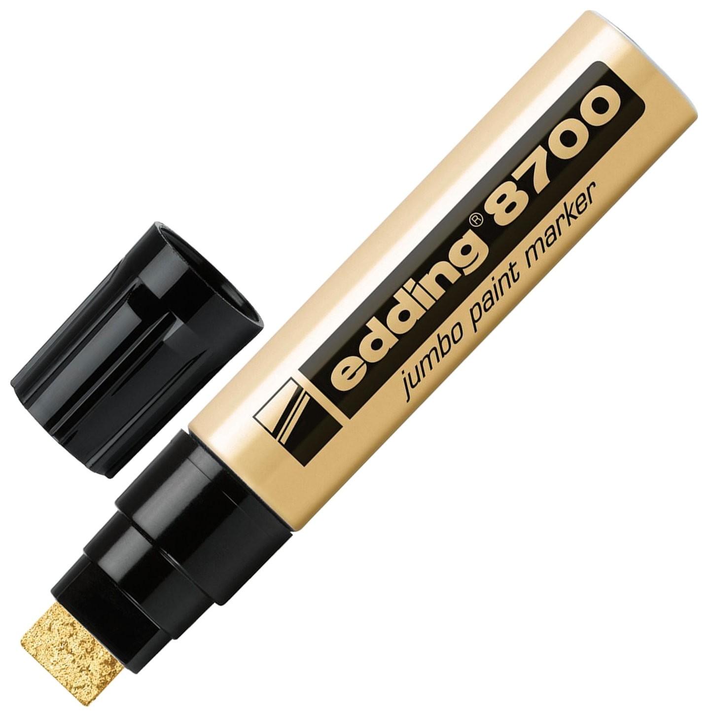 Маркер-краска лаковый (Paint Marker) Edding 8700 Jumbo, 5-18 мм, золотой, скошенный наконечник, алюминиевый корпус Edding
