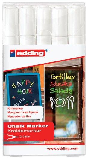 Маркеры меловые Edding 4095 набор 5 шт., 2-3 мм, ассорти, влагостираемый, для гладких поверхностей  Edding