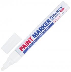 Маркер-краска лаковый (Paint Marker) 4 мм, белый, нитро-основа, алюминиевый корпус, Brauberg Professional Plus  Brauberg