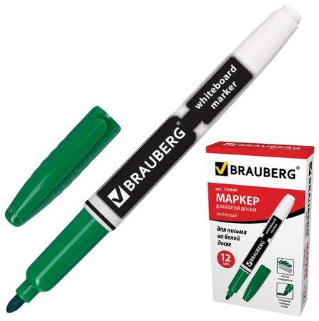Маркер для доски Brauberg, зеленый, с клипом, эргономичный корпус, круглый наконечник, 4 мм  Brauberg