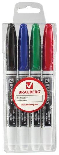Маркеры для доски Brauberg, набор 4 шт., ассорти, эргономичный корпус, круглый наконечник, 4 мм  Brauberg