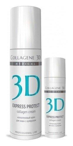 Крем для лица Express Protect с софорой японской, профилактика купероза, устранение темных кругов и отечности  Medical Collagene 3D