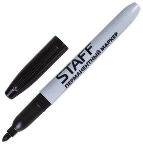Маркер перманентный (Нестираемый) Staff, черный, эргономичный корпус, круглый наконечник, 2 мм  Staff