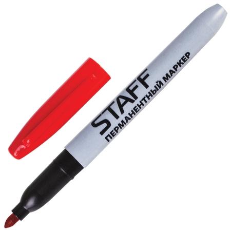 Маркер перманентный (Нестираемый) Staff, красный, эргономичный корпус, круглый наконечник, 2 мм  Staff