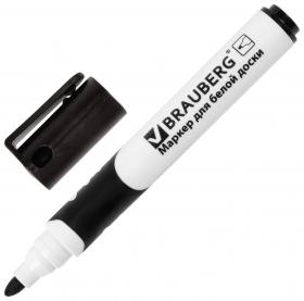 Маркер для доски Brauberg Soft, черный, резиновая вставка, круглый наконечник, 5 мм  Brauberg