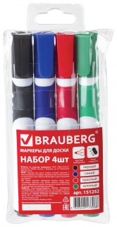 Маркеры для доски Brauberg Soft, набор 4 шт., ассорти, резиновая вставка, круглый наконечник, 5 мм  Brauberg