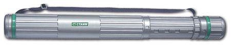 Тубус для чертежей СТАММ телескопический, диаметр 8,5 см, 70-110 см, А0, серый, на ремне  Стамм