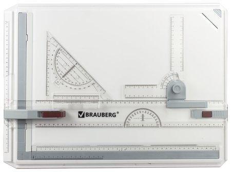 Доска чертежная А3, 505х370 мм, с рейсшиной, треугольником и чертежным узлом, Brauberg  Brauberg