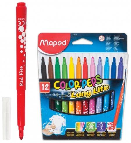 """Фломастеры Maped """"Color Pep's"""", 12 цветов, смываемые, трехгранные, картонная упаковка  Maped"""