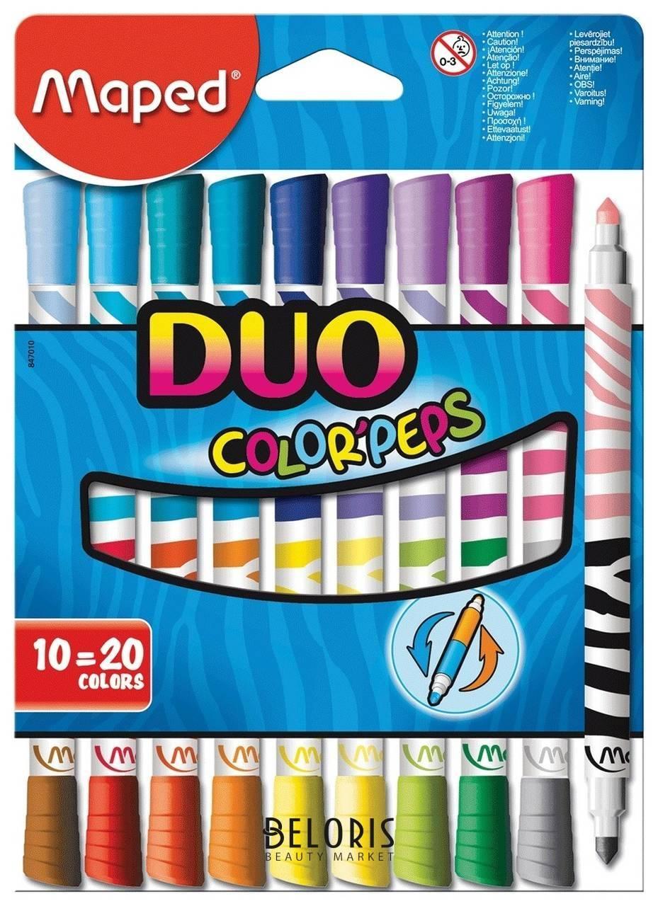 Фломастеры двухсторонние 20 цветов Duo Maped Color'peps