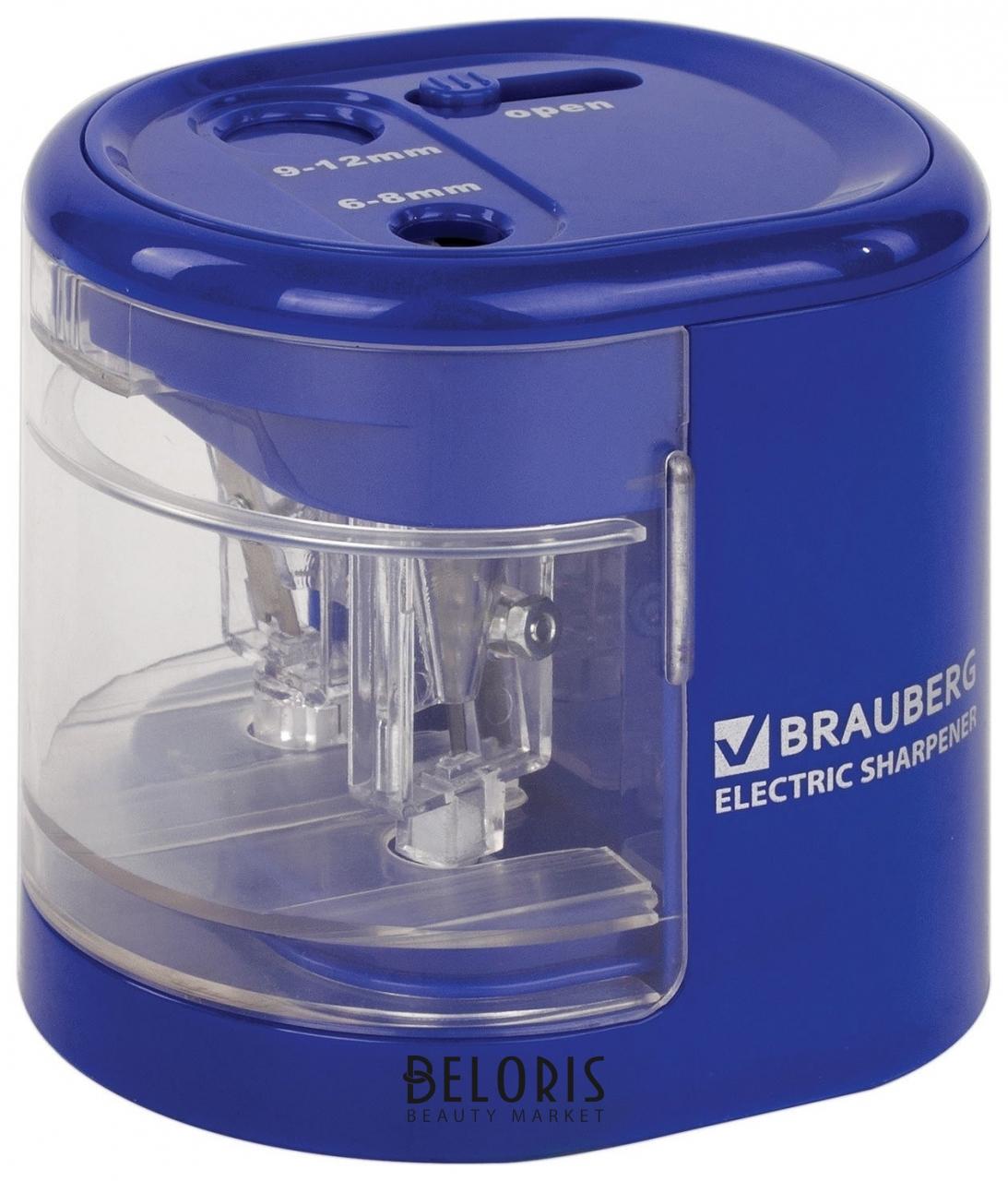 Точилка электрическая Brauberg Extra, два отверстия 6-8/9-12 мм, питание от 4 батареек АА Brauberg