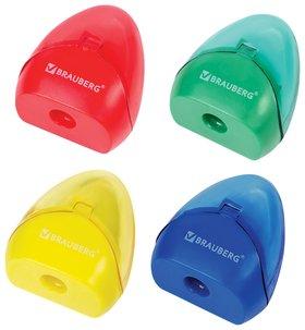 Точилка Brauberg Bell с контейнером, пластиковая, конусообразная, цвет корпуса ассорти  Brauberg