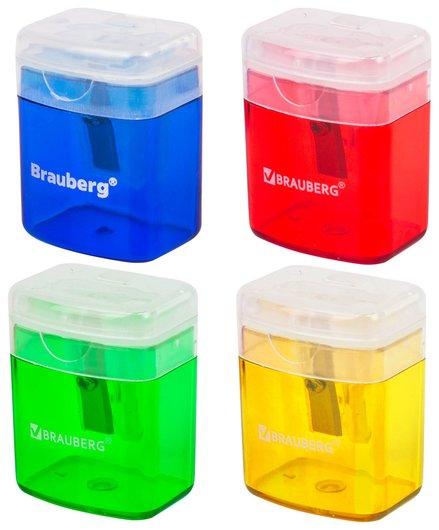 """Точилка Brauberg """"Officebox"""", с контейнером и крышкой, прямоугольная, в упаковке с подвесом, ассорти  Brauberg"""