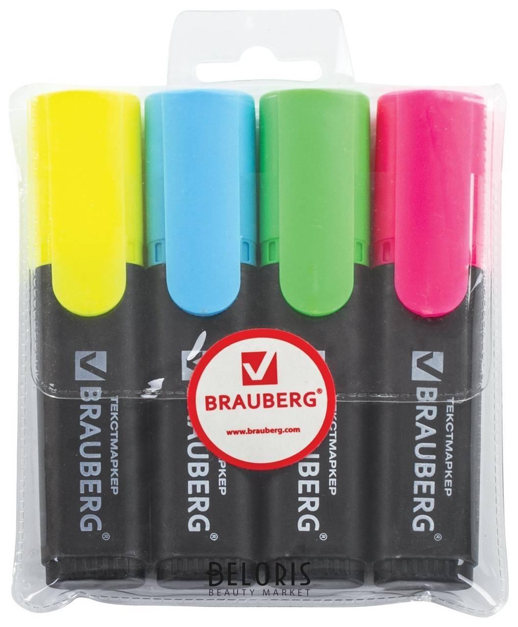Набор текстовыделителей Contract, 4 цвета Brauberg