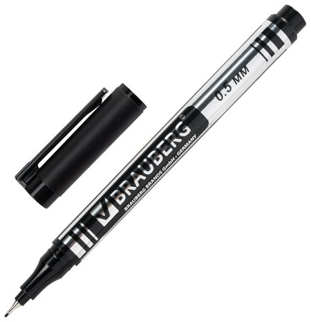 """Маркер перманентный (Нестираемый) Brauberg """"Jet"""", черный, супертонкий металлический наконечник, 0,5 мм  Brauberg"""