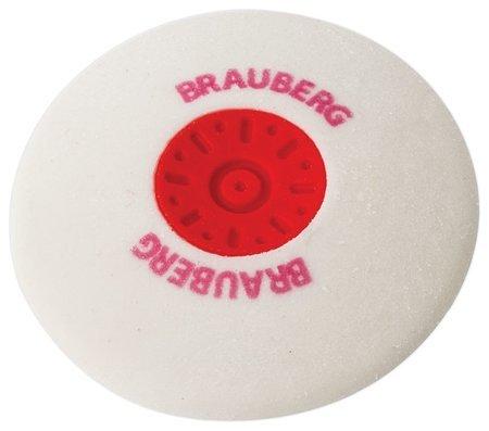 Ластик Brauberg Energy, 30х30х8 мм, белый, круглый, термопластичная резина, пластиковый держатель Brauberg