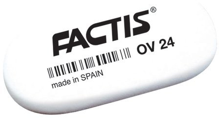 Ластик Factis Ov 24, 49х24х9 мм, белый, овальный, мягкий, синтетический каучук  Factis