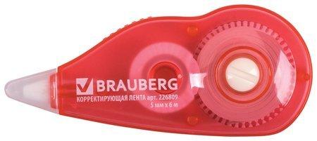Корректирующая лента Brauberg, 5 мм х 6 м, корпус красный, с подкручиванием, блистер  Brauberg