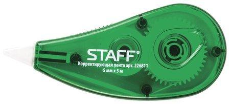 Корректирующая лента Staff, 5 мм х 5 м, корпус зеленый, блистер  Staff