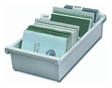 Картотека пластиковая формат А6 (148х105 мм) горизонтальная на 1300 карт, серая, Han  Han