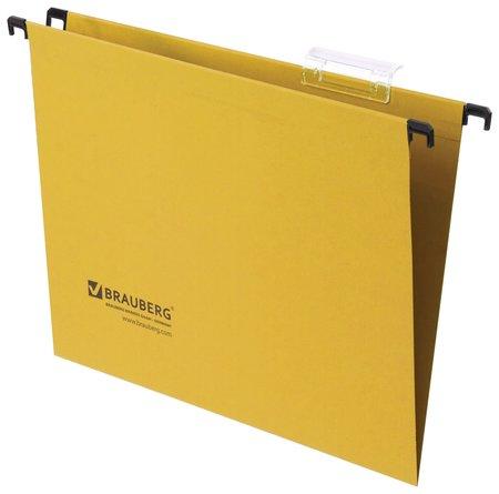Подвесные папки А4 (350х245 мм), до 80 листов, комплект 10 шт., желтые, картон, Brauberg  Brauberg