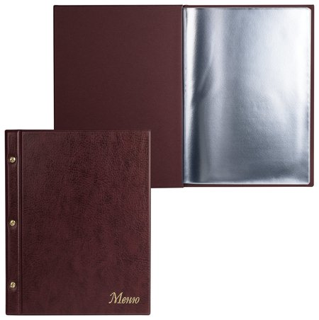 "Папка ""Меню""на трех винтах, с 10 файлами, 220х320 мм, коричневая,""ДПС""  Dps Kanc"