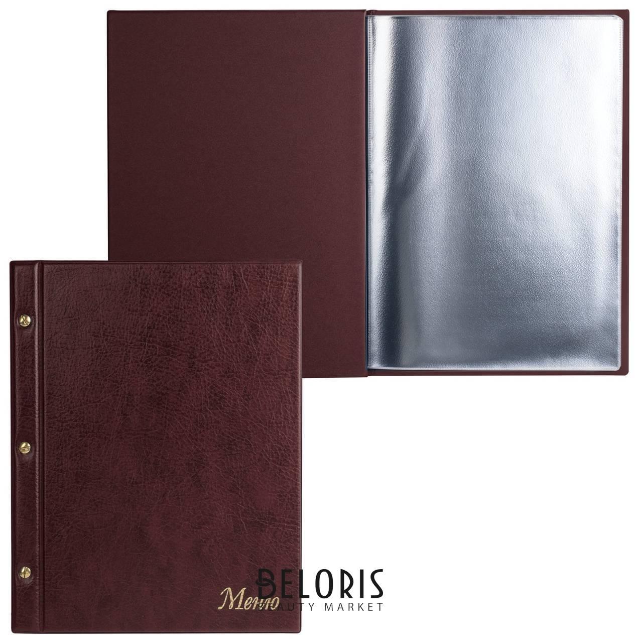 Папка Менюна трех винтах, с 10 файлами, 220х320 мм, коричневая,ДПС Dps Kanc