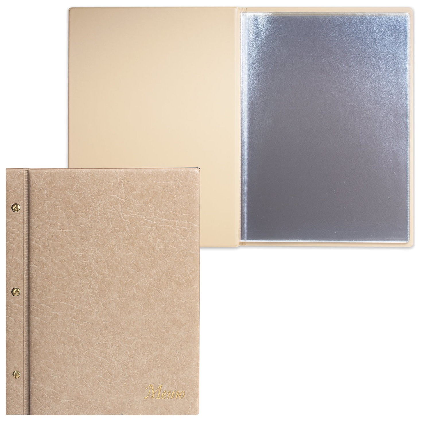 "Папка ""Меню""на трех винтах, с 10 файлами, 220х320 мм, бежевая,""ДПС""  Dps Kanc"