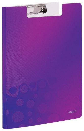 """Папка-планшет Leitz """"Wow"""", с верхним прижимом и крышкой, A4, 330х230 мм, полифом, фиолетовая  Leitz"""