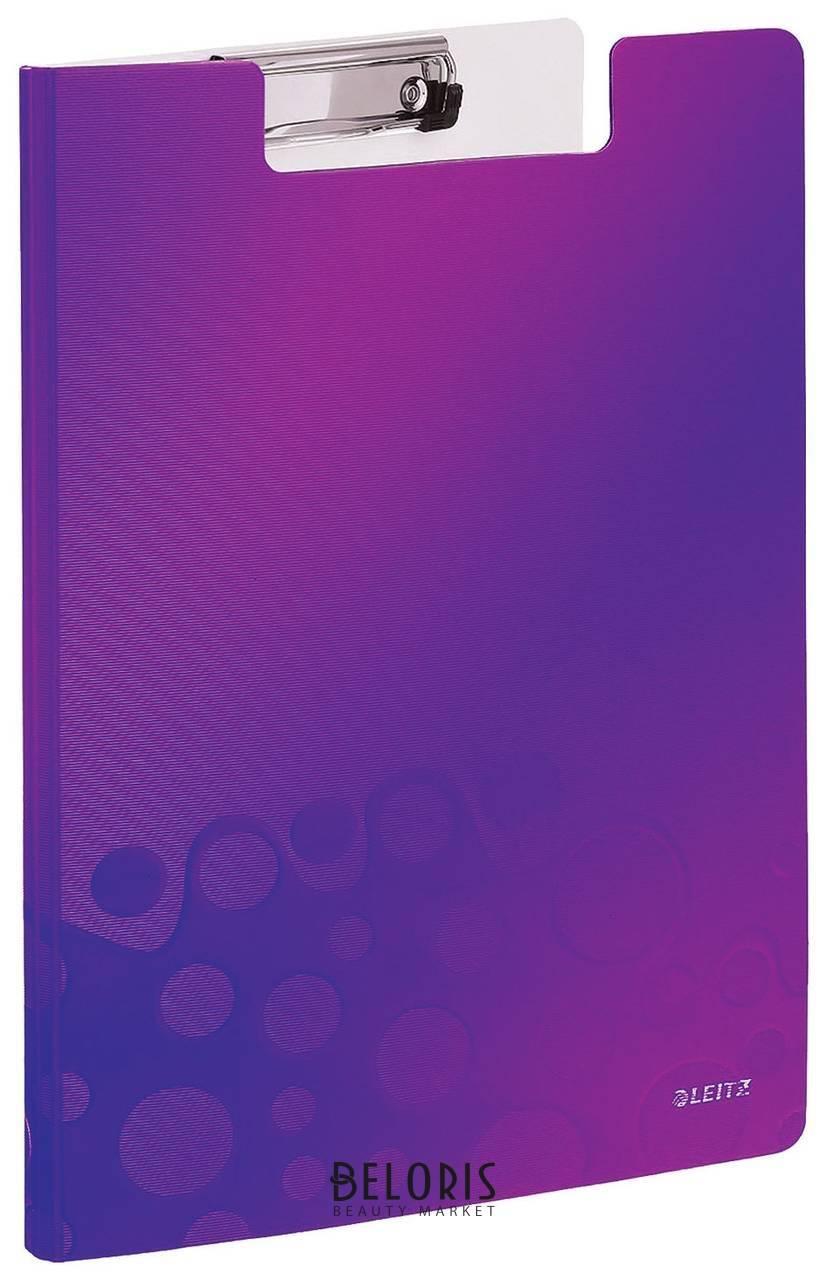 Папка-планшет Leitz Wow, с верхним прижимом и крышкой, A4, 330х230 мм, полифом, фиолетовая Leitz