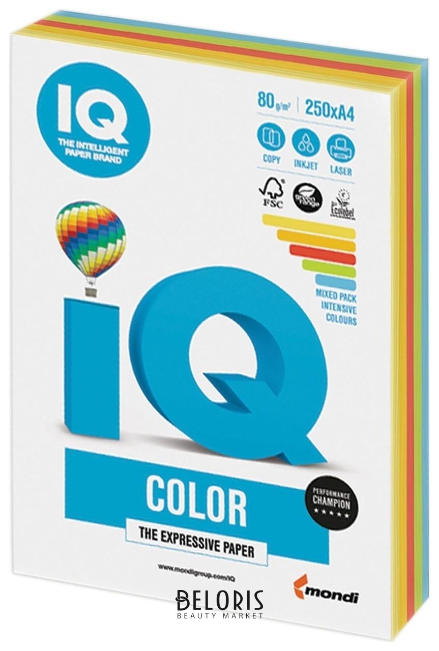 Бумага, А4, 80 г/м2, 250 листов, (5 цв. x 50 л.), цветная, интенсив Iq Color