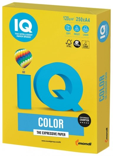Бумага, А4, 120 г/м2, 250 листов, интенсив, ярко-желтая  Iq