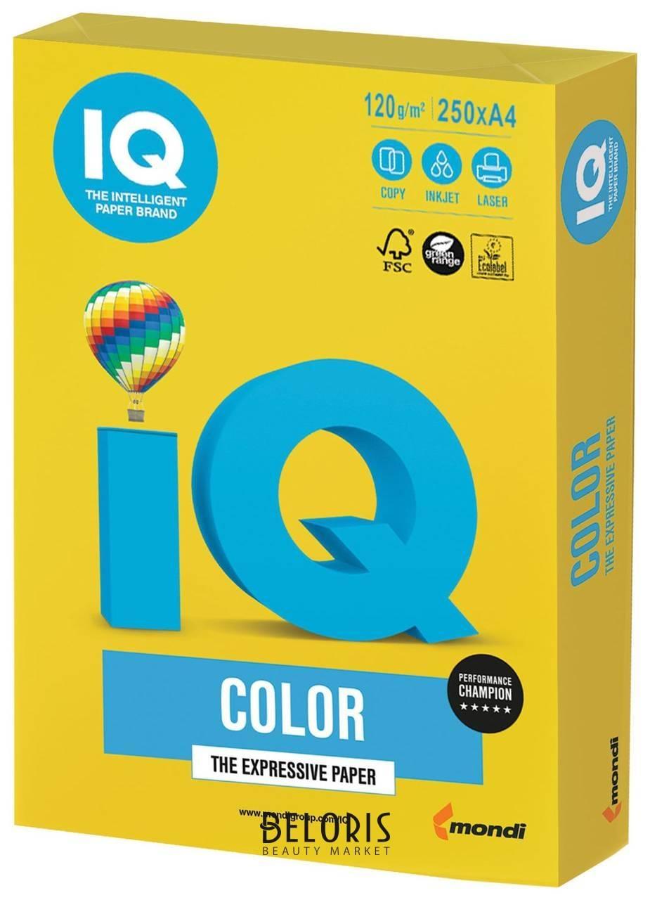 Бумага, А4, 120 г/м2, 250 листов, интенсив, ярко-желтая Iq Color