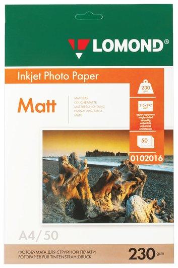 Фотобумага для струйной печати, А4, 230 г/м2, 50 листов, односторонняя матовая, LOMOND  Lomond