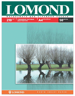 Фотобумага для струйной печати, А4, 210 г/м2, 50 листов, двухсторонняя глянцевая/матовая, LOMOND  Lomond