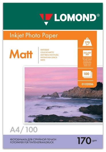 Фотобумага для струйной печати, А4, 170 г/м2, 100 листов, двухсторонняя матовая, LOMOND  Lomond