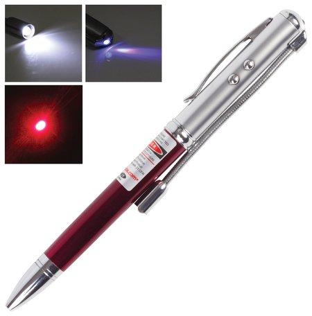 Указка лазерная, радиус 200 м, красный луч, Led-фонарь, стилус, детектор купюр, ручка  Beifa