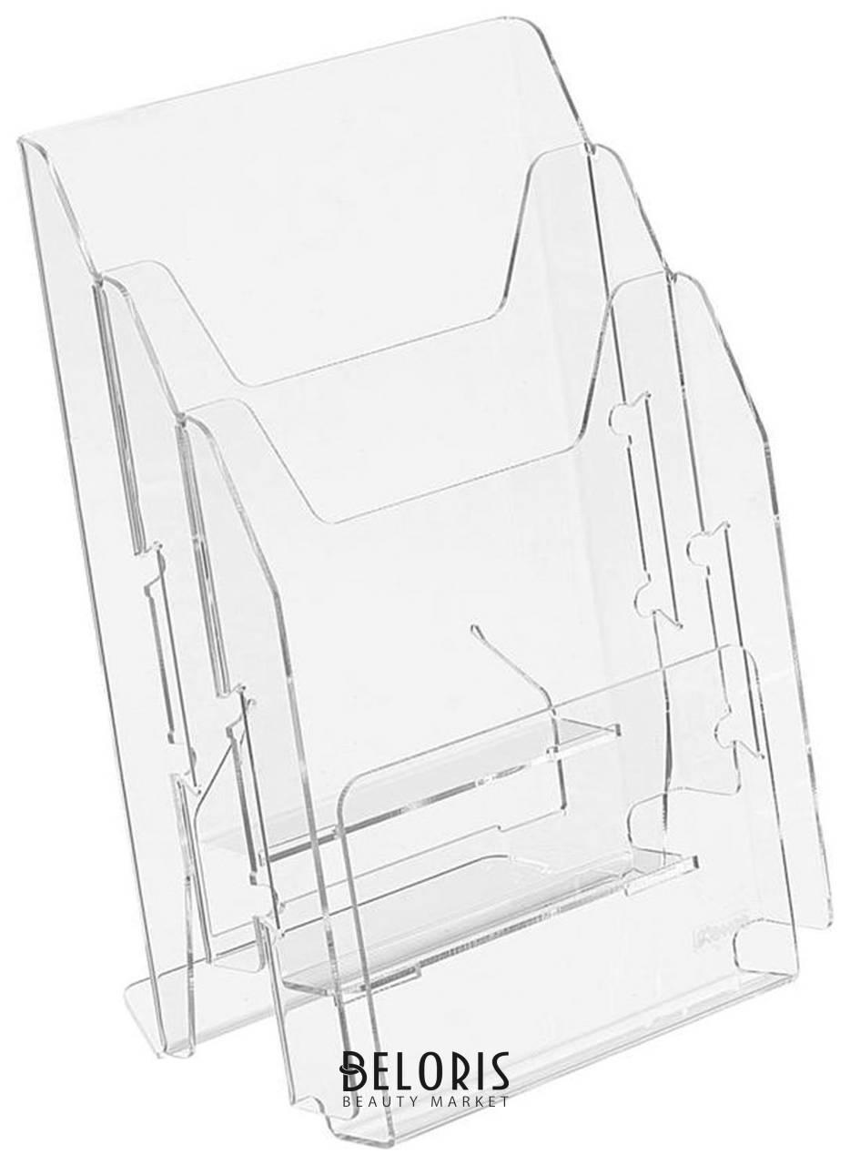 Подставка настольная для рекламных материалов вертикальная (297х215х32 мм), А4, 3 отделения, смещение, №503 КНР
