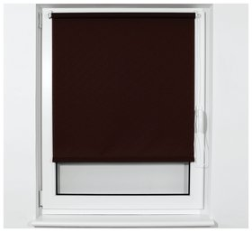 Штора рулонная BRABIX 50х175 см, текстура - лён, защита 55-85%, 200 г/м2, коричневый S-17  Brabix