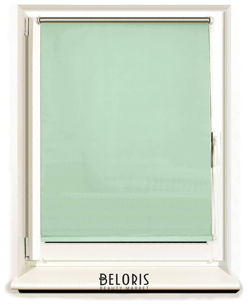 Штора рулонная светонепроницаемая (Блэкаут) Brabix 50х175 см, светло-зеленый/серебро Brabix