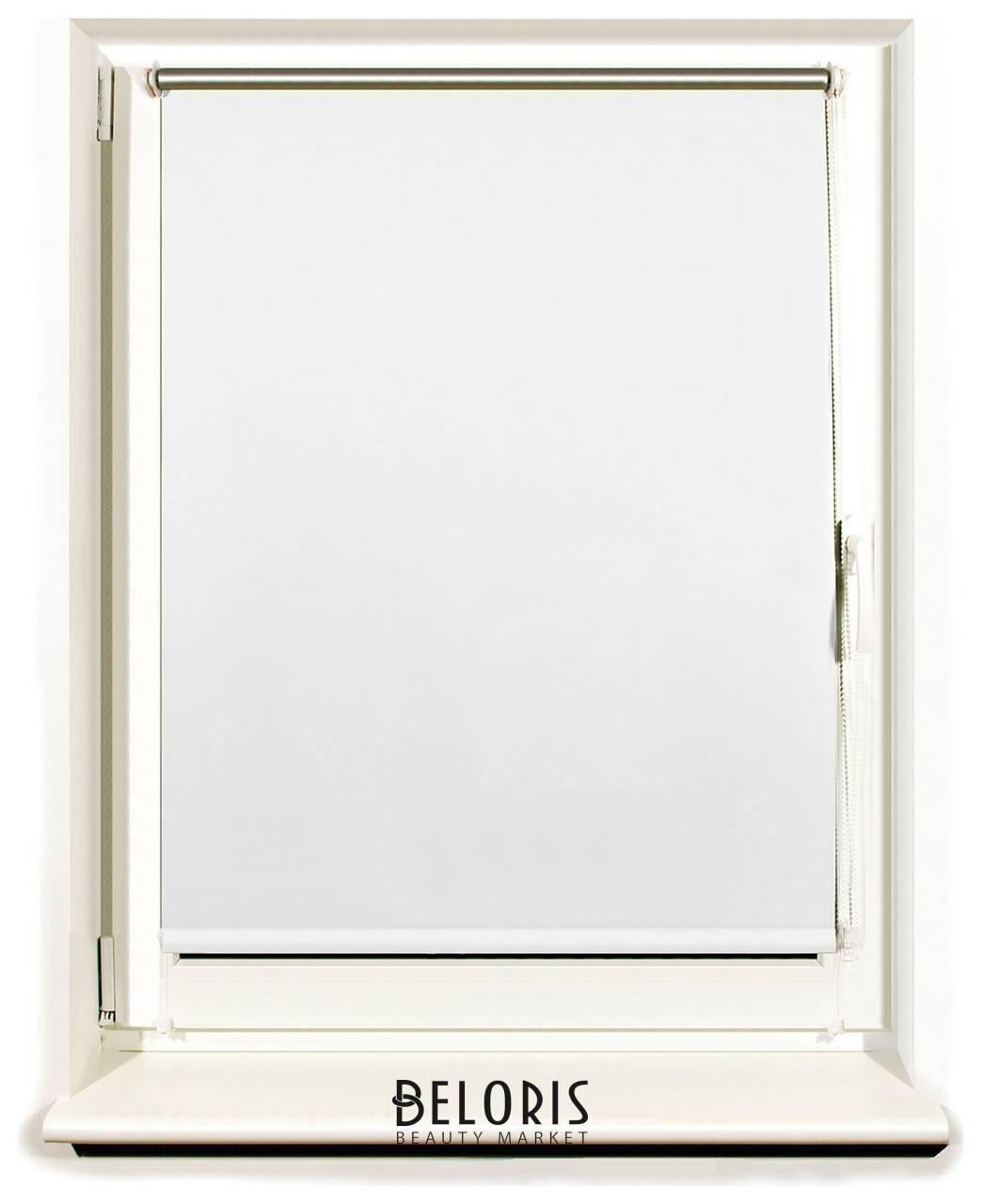 Штора рулонная светонепроницаемая (Блэкаут) Brabix 120х175 см, белый/серебро Brabix
