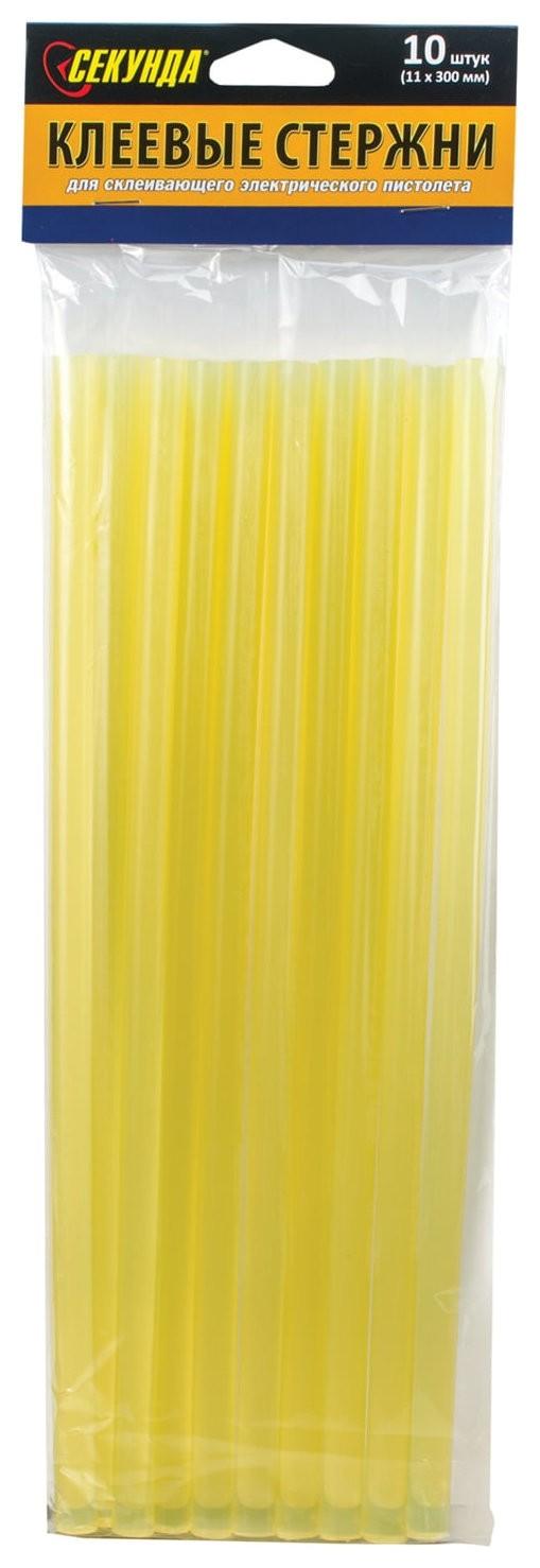 Клеевые стержни, диаметр 11 мм, желтые, Секунда, 10 шт., длина 300 мм, европодвес  Секунда
