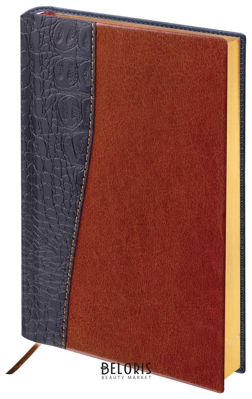 Ежедневник недатированный А5 (138х213 мм) BRAUBERG Cayman, комбинированная кожа, 160 листов, кремовый блок, золотой срез, черный/темно-коричневый Brauberg