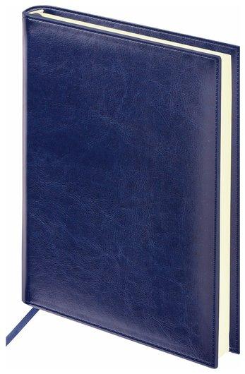 "Ежедневник недатированный А5 (138х213 мм) Brauberg ""Imperial"", под гладкую кожу, 160 л., кремовый блок, темно-синий  Brauberg"