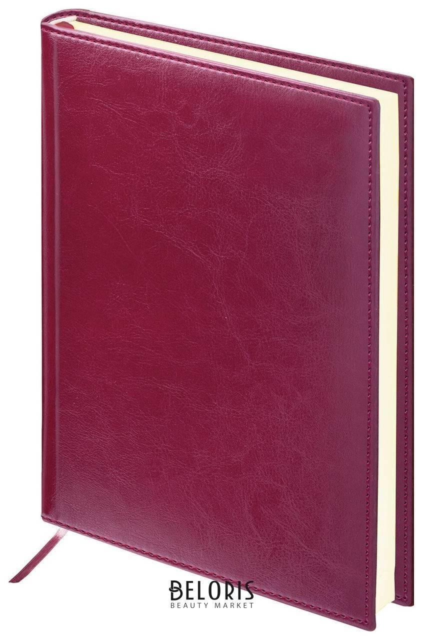 Ежедневник недатированный А5 (138х213 мм) Brauberg Imperial, под гладкую кожу, 160 л., кремовый блок, бордовый Brauberg