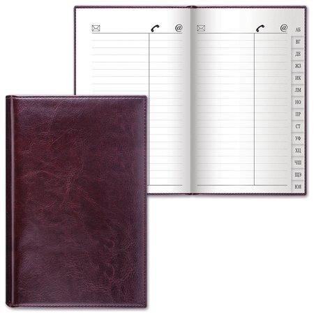 "Телефонная книжка А5 (136х202 мм), Brauberg ""Imperial"", под гладкую кожу, 96 л., вырубной алфавит, темно-коричневая  Brauberg"