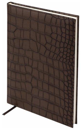 """Ежедневник недатированный большой формат (175х247 мм) А4, Brauberg """"Alligator"""", под матовую крокодиловую кожу, 160 л., кремовый блок, темно-коричневый  Brauberg"""