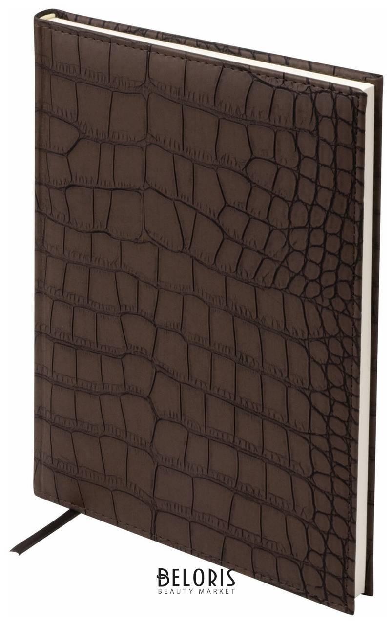 Ежедневник недатированный большой формат (175х247 мм) А4, Brauberg Alligator, под матовую крокодиловую кожу, 160 л., кремовый блок, темно-коричневый Brauberg