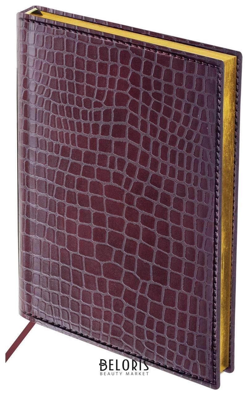 Ежедневник полудатированный А5 (138х213 мм) BRAUBERG Alligator, под крокодиловую кожу, 192 л., кремовый блок, золотой срез, темно-коричневый Brauberg