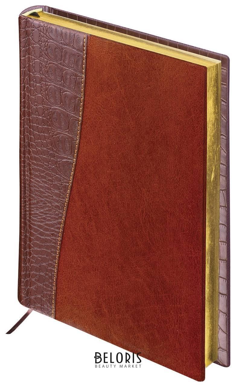 Ежедневник недатированный А5 (138х213 мм) Brauberg Cayman, комбинированная кожа, 160 л., кремовый блок, золотой срез, коричневый Brauberg
